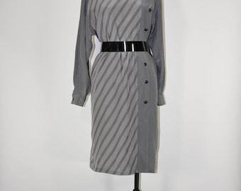 80s gray silk dress / 1980s striped shirt dress / long sleeve silk dress