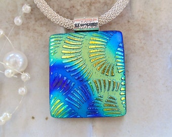 Gold Necklace, Blue, Green, Dichroic Pendant, Glass Jewelry, Necklace Included, A12