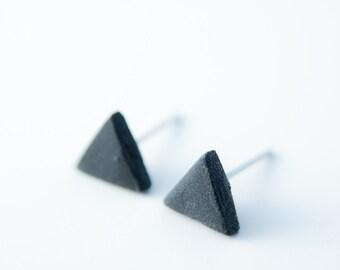 Minimalist Earrings, Mens earring, earrings for men, black earring, ceramic earring, porcelain earrings, black stud earrings, matte earrings