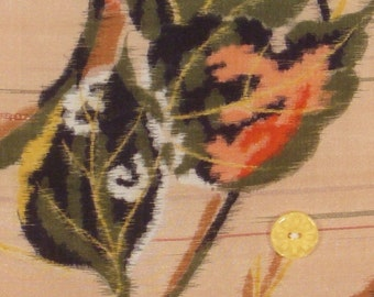 Leaf Tattoo Vintage Kimono Fabric Wall Hanging