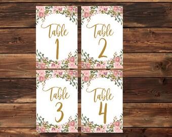 Floral Wedding Table Numbers