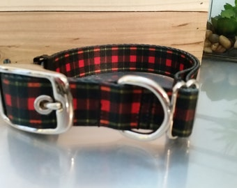Metal Buckle Red Plaid Dog Collar - 1 inch wide - Polyester Webbing - Water Resistant - Stainless Steel - Plastic Buckle