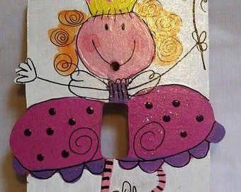 Kids Pink Fairy Princess  Hand painted Switch Plate or Outlet cover Primitive Wall Decor