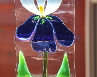 Fused Glass Iris Wind Chime or Sun Catcher
