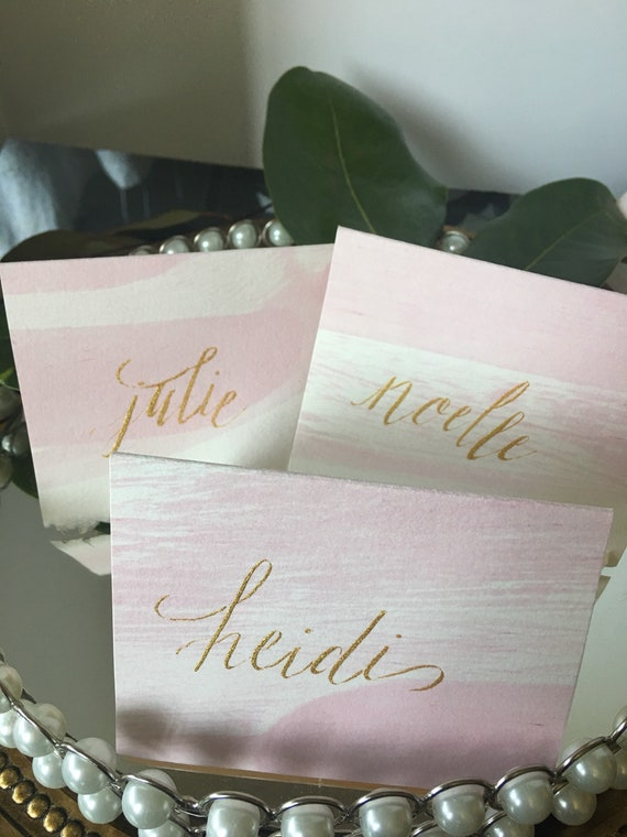 Blush watercolor place cards gold name