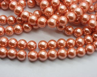 50 beads 8 mm Pearl glass 8 mm apricot orange
