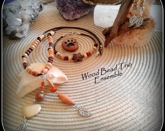 Wood Bead Trio Ensemble, Necklace with Pendant, Bracelet and Earrings