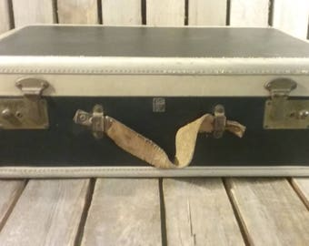 Two Toned Suitcase, Vintage Luggage, Travel Box
