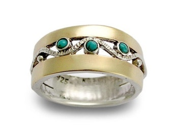 Gold Silver Ring, turquoise ring, gemstone ring, birthstones ring, mothers ring, Two tones band, gemstones - Entertainment tonight R1240.