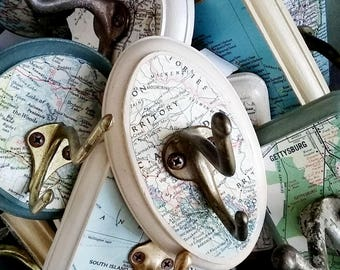 Custom Wall Hook Made From  a Vintage Map, You Choose The City, State, Country, Map Area, Personalized Vintage Map Wall Hook