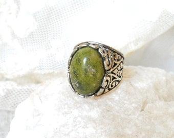 green ring boho ring unakite ring silver ring stone ring gemstone ring boho ring boho jewelry bohemian ring adjustable ring adjustable