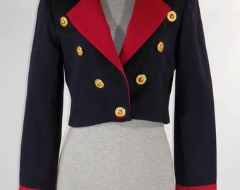 Claudia Szerer cropped military jacket short jacket red blue crop coat Oxygene label size small size 8