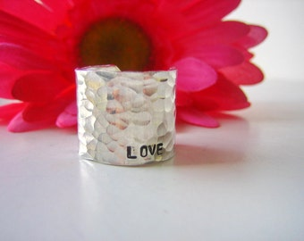 Extra Wide Ring Band - Hammered Aluminum - Hand Stamped LOVE in tiny text - Personalized Ring Band - Love Ring - Stamped Jewelry - Love