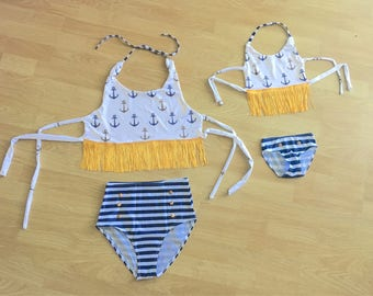 Baby Swimsuit Toddler Swimsuit Girl Swimsuit Toddler Swimwear Girl Mother Daughter Swimwear Anchor Nautical Bathing Suit mothers day gift