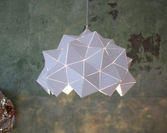 White/Silver Mirror Geodesic Dome Sculptural Pendant