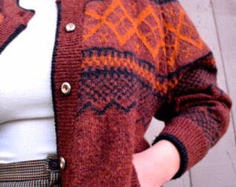 80s maroon cardigan puffy sleeves size S M