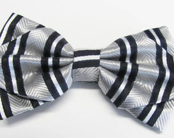 Silver And Black Herring Bone Stripe Diamond Pre Tied Bow Tie