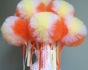 Candy Corn Tulle Pom Pom Wand Centerpiece, Halloween Party Favors