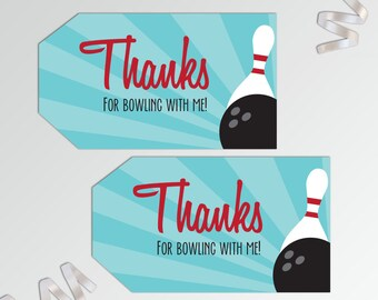 Bowling Thank You Tags - Printable Favor Tags - Bowling Party Favor Tags - Bowling Favor Tags - Party Favor Tag - Bowling Birthday Favor Tag