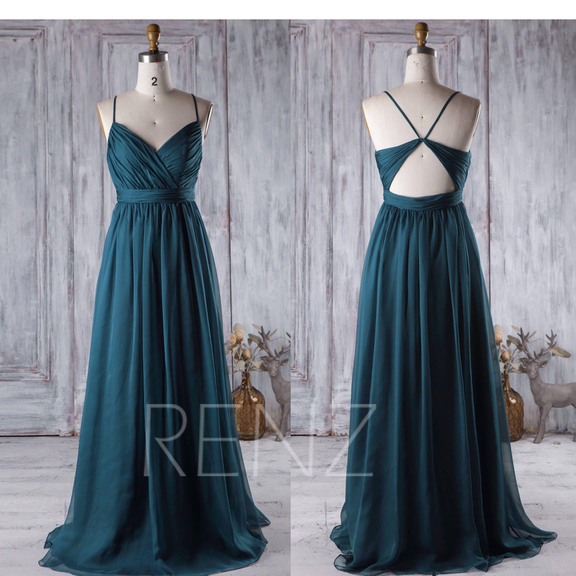 Brautjungfer Kleid Vintage blau Chiffon-Kleid Brautkleid