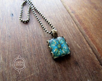 Spanish tile necklace, Mediterranean tile design, pendant, charm