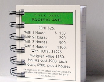 MONOPOLY Property Card NOTEBOOK Game Card notepad or mini journal
