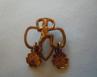 Vintage Brownie Pin with Clovers Memorabilia