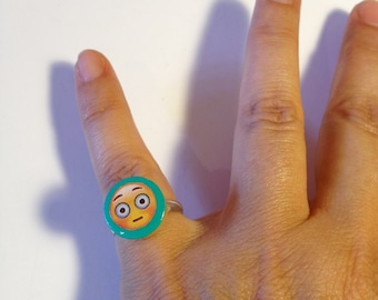 Mood Rings Emoji - Wooden Rings - Cute Handmade Rings - For Girls