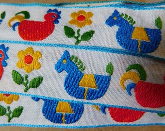 "VINTAGE Sweet Children's Woven Jacquard Ribbon Trim Tape~Rocking horses~Chickens~Flowers~white~red~blue~Aqua~yellow on a white~1"" wide"