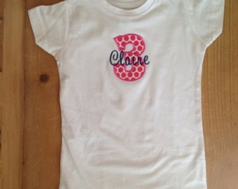 Hot Pink Polka Dot Birthday Shirt or Baby Bodysuit With Navy Name Embroidery