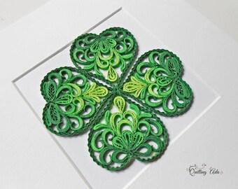 Quilling Clover – Four leaf clover - Paper art - wall decor-home decor