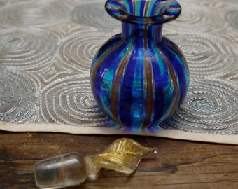 Pretty Hand Blown Blue and Gold Perfume Bottle