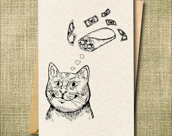 Funny Cat Card, Funny Just Because Card, Funny Greeting Cards Friend, Best Friend Greeting Card, Cat Lover Gift, Greeting Cards for Women