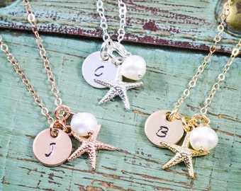 Beach Wedding Necklace • Starfish Charm Small Starfish Jewelry • Personalized Bridesmaid Gift Idea Rose Gold Starfish Tiny Gift