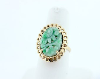 Yellow Gold Jade Flower Ring