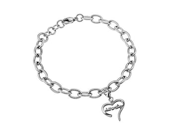 "Handwriting Heart Bracelet ""Serenity"""