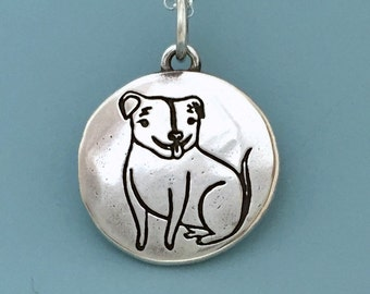 Pit Bull Necklace in Sterling Silver, Custom Stamped with Dog's Name and a Date, Pet Gift
