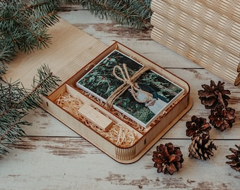Wooden photo box for 4x6 photo packaging with compartment for USB   Natural 15x10 cm photo and USB box