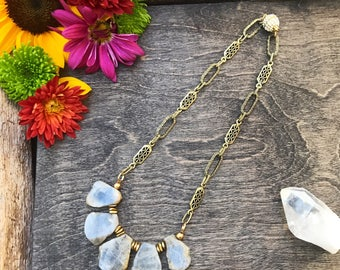 Labradorite crystal necklace with antique chain and pave magnetic clasp, one of a kind labradorite necklace, statement necklace, neck piece