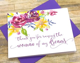 thank you for raising the woman of my dreams - card for mother father in law from groom - wedding day thank you - purple and gold - EMBRACE