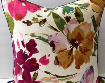 Watercolor Decorator Throw Pillow Cover 20 Inch Square Blue Pink White Green Floral