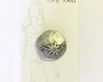 Belle Buttons By Dritz Medium 28mm ( 1 1/8 inches) Antique Silver and Black Metal Buttons BB196
