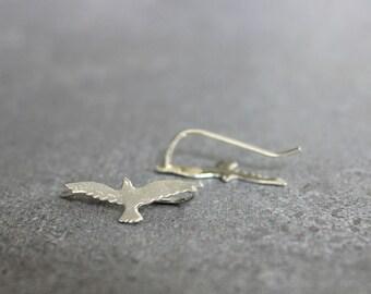 Bird ear climber, silver stud earrings, silver ear crawler, bird stud earrings, minimalist earrings.