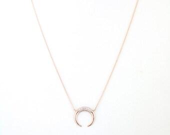 Diamond Horn Pendant Necklace, 14k Solid Gold Diamond Set Horn Pendant Necklace, Horn Charm Necklace, Unique Minimalist Necklace