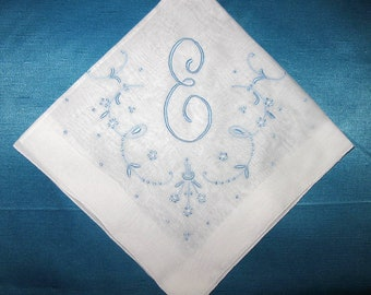 Wedding Something Blue for bride, Vintage Handkerchiefs, Gift for Bride, Embroidered E