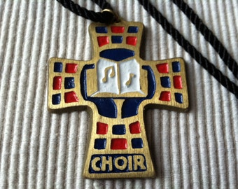 "Vintage 80's  ""CHOIR CORDED NECKLACE"" Brass Colored Cross with Musical Notes"