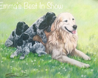 "Original Custom Colored Pencil Pet Portrait of Multiple Pets (2-4 Pets) Made to Order on 11""x14"" Paper"