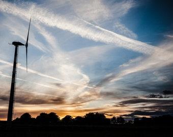 Last Sliver Of Daylight - Landscape, Sunset, Red Sky, Wind Turbine, Photo, Print,