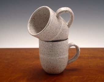Stoneware Coffee Mugs -- White Speckled Mugs (Set of 2)