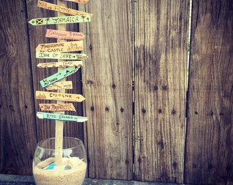Custom Bucket List Destination Tree - Tabletop Sized Centerpiece. Personalize signs with beach destinations or tropical locales